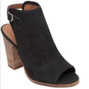 LUCKY BRAND Suede Leather 'Lisza' Open Toe Bootie